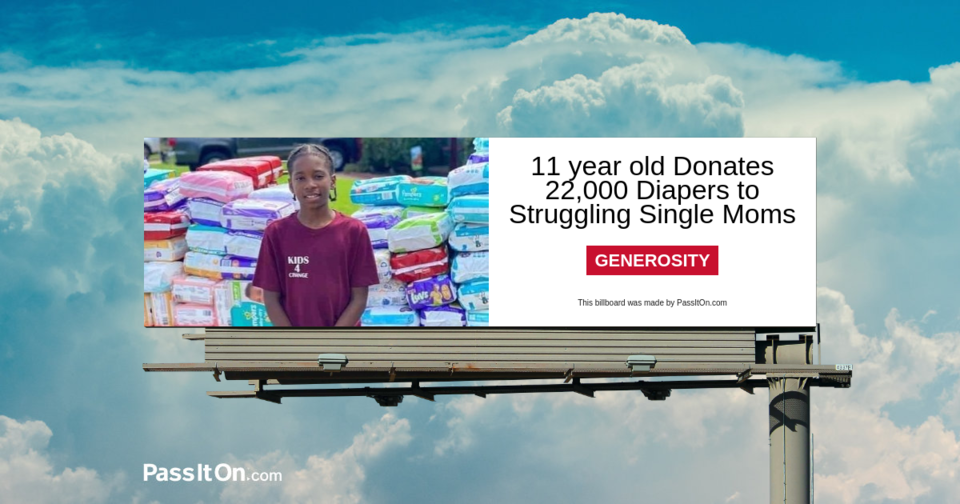11 Year Old Donates 22,000 Diapers to Struggling Single Moms