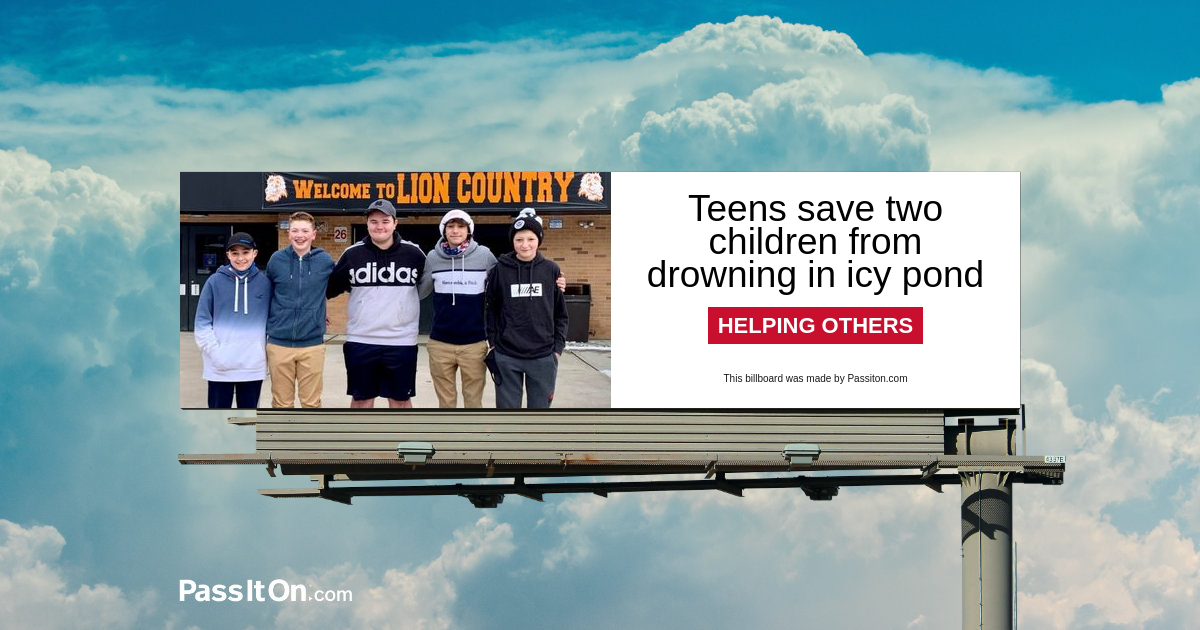Teens save two children from drowning in icy pond