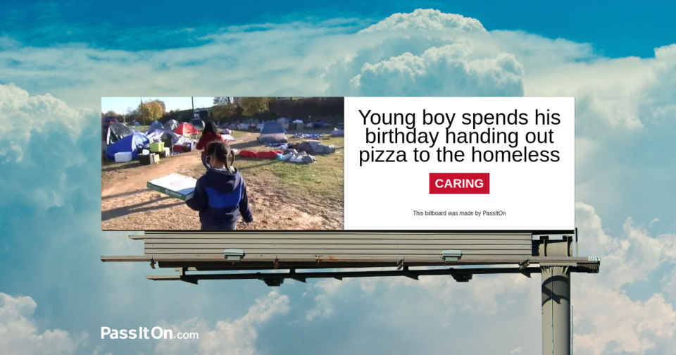 Young boy spends his birthday handing out pizza to the homeless