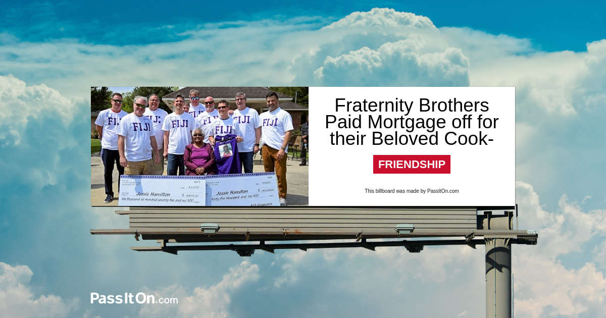 Fraternity Brothers Paid Mortgage off for their Beloved Cook