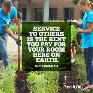 Service to others is the rent you pay for your room here on earth. #<Author:0x00007f150a141b00>