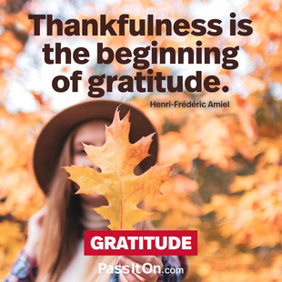 Thankfulness is the beginning of gratitude. #<Author:0x00005561fc70c1d8>
