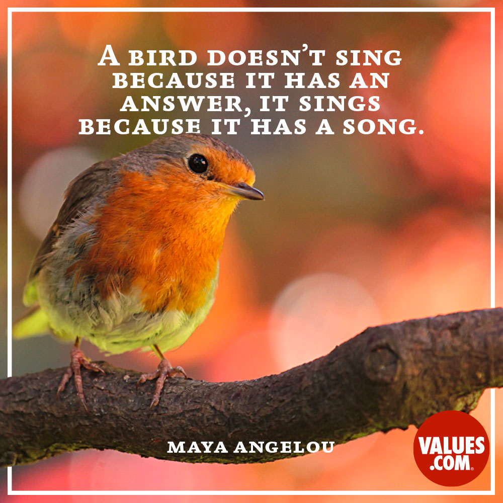 A bird doesn't sing because it has an answer, it sings because it has a song. —Maya Angelou