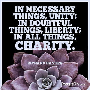 In necessary things, unity; in disputed things, liberty; in all things, charity. #<Author:0x00007f613cde49b0>