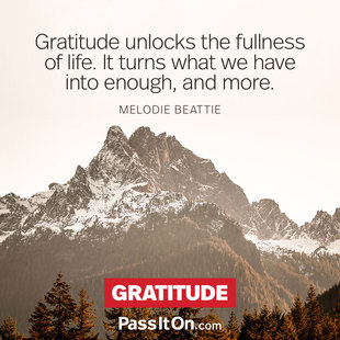 Gratitude unlocks the fullness of life. It turns what we have into enough, and more. #<Author:0x00007f14f1fc4240>