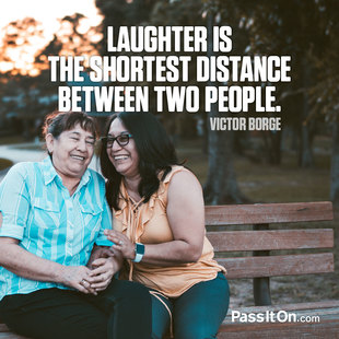 Laughter is the shortest distance between two people. #<Author:0x00007f1509fc2c48>