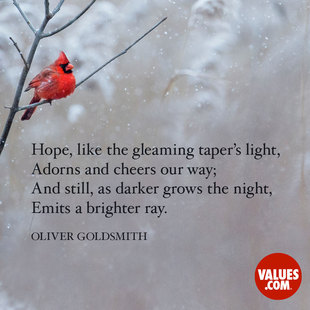 Hope, like the gleaming taper's light, Adorns and cheers our way; And still, as darker grows the night, Emits a brighter ray. #<Author:0x00007ffb77787010>