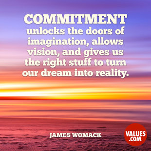 Commitment unlocks the doors of imagination, allows vision, and gives us the right stuff to turn our dream into reality. #<Author:0x00007fb16b245508>