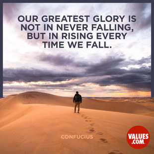 Our greatest glory is not in never falling, but in rising every time we fall. #<Author:0x00007f53ad8d7090>