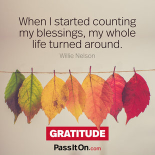 When I started counting my blessings, my whole life turned around. #<Author:0x00007ffb7726fcd0>