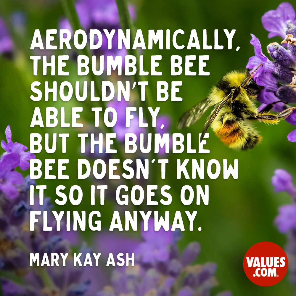 Aerodynamically, the bumble bee shouldn't be able to fly, but the bumble bee doesn't know it so it goes on flying anyway.  —Mary Kay Ash