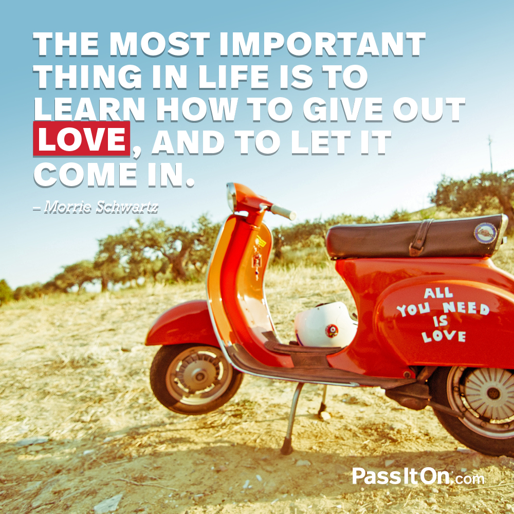 The most important thing in life is to learn how to give out love, and to let it come in. —Morrie Schwartz
