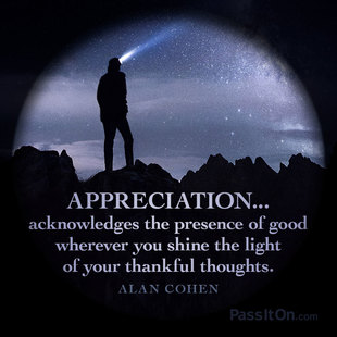Appreciation...acknowledges the presence of good wherever you shine the light of your thankful thoughts. #<Author:0x00007f1ec6026bd8>