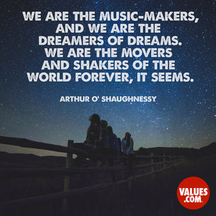 We are the music-makers, and we are the dreamers of dreams. We are the movers and shakers of the world forever, it seems.  #<Author:0x00007f150952ed68>