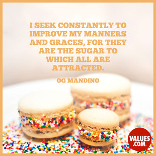 I seek constantly to improve my manners and graces, for they are the sugar to which all are attracted.