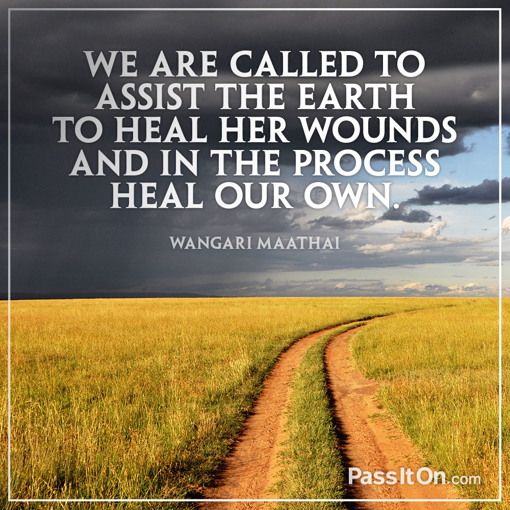 We are called to assist the Earth to heal her wounds and in the process heal our own. —Wangari Maathai