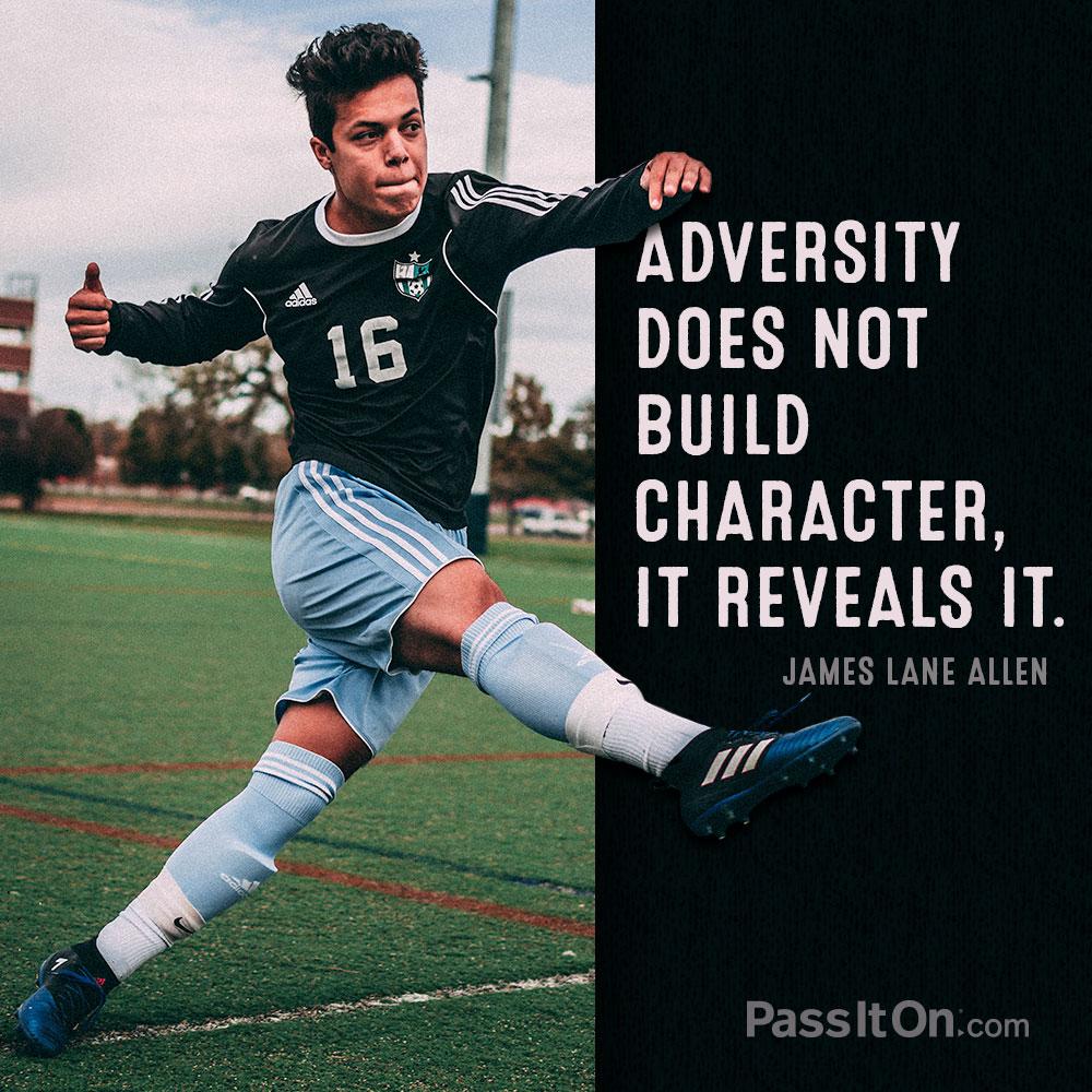Adversity does not build character, it reveals it. —James Lane Allen
