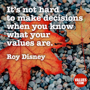 It's not hard to make decisions when you know what your values are. #<Author:0x00007f2f72e5bf98>