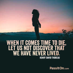 When it comes time to die, let us not discover that we have never lived.  #<Author:0x00007f87478855d8>