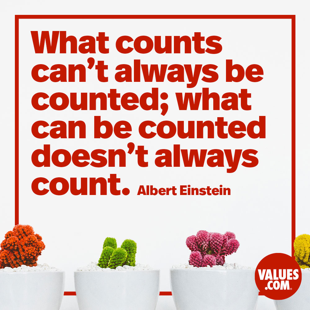 What counts can't always be counted; what can be counted doesn't always count. —Albert Einstein