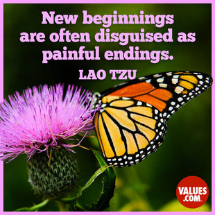 New beginnings are often disguised as painful endings. #<Author:0x00007fac01b3a628>