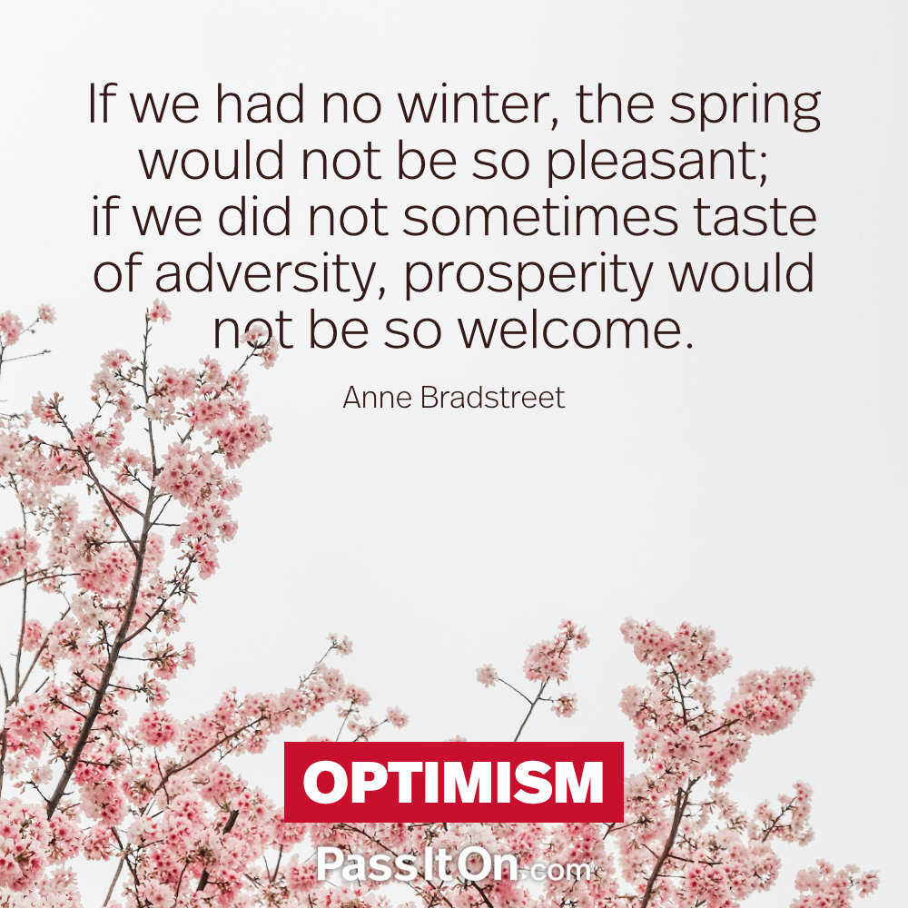 If we had no winter, the spring would not be so pleasant; if we did not sometimes taste of adversity, prosperity would not be so welcome. —Anne Bradstreet