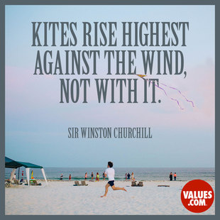 Kites rise highest against the wind, not with it. #<Author:0x00007f7fbaf6d420>