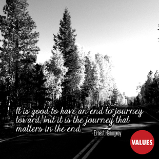 It is good to have an end to journey toward, but it is the journey that matters in the end. #<Author:0x00007f248289a910>