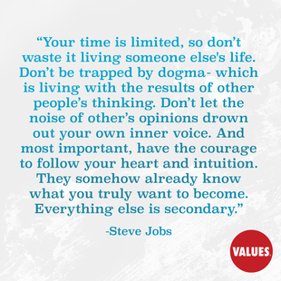 Your time is limited, so don't waste it living someone else's life. Don't be trapped by dogma- which is living with the results of other people's thinking. Don't let the noise of other's opinions drown out your own inner voice. And most important, have the courage to follow your heart and intuition. They somehow already know what you truly want to become. Everything else is secondary. #<Author:0x0000564b2bf76d50>