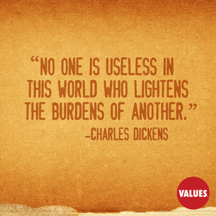 No one is useless in this world who lightens the burdens of another. #<Author:0x00007facc29ad280>