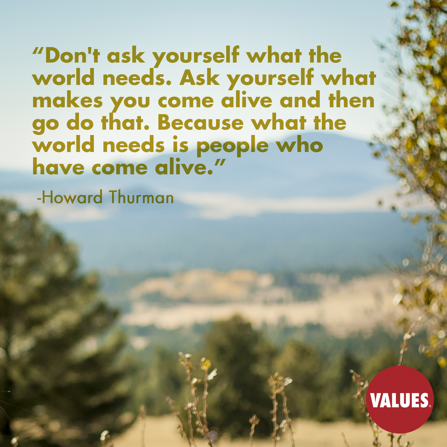 Don't ask yourself what the world needs. Ask yourself what makes you come alive and then go do that. Because what the world needs is people who have come alive. —Howard Thurman