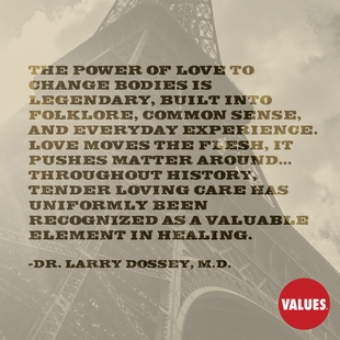 The power of love to change bodies is legendary, built into folklore, common sense, and everyday experience. Love moves the flesh, it pushes matter around... Throughout history, tender loving care has uniformly been recognized as a valuable element in healing. #<Author:0x00007f1ae1dd7810>