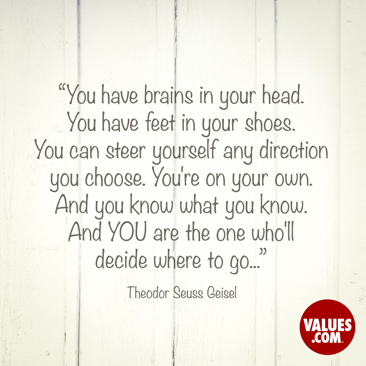 You have brains in your head. You have feet in your shoes. You can steer yourself any direction you choose. You're on your own. And you know what you know. And YOU are the one who'll decide where to go...  —Theodor Seuss Geisel