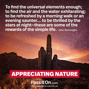To find the universal elements enough; to find the air and the water exhilarating; to be refreshed by a morning walk or an evening saunter... to be thrilled by the stars at night—these are some of the rewards of the simple life. #<Author:0x00007f094093c330>