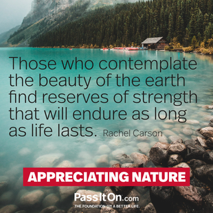 Those who contemplate the beauty of the earth find reserves of strength that will endure as long as life lasts.  #<Author:0x0000563074254860>