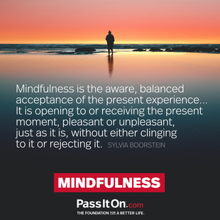 Mindfulness is the aware, balanced acceptance of the present experience... It is opening to or receiving the present moment, pleasant or unpleasant, just as it is, without either clinging to it or rejecting it. #<Author:0x00007f7fb88c7c80>