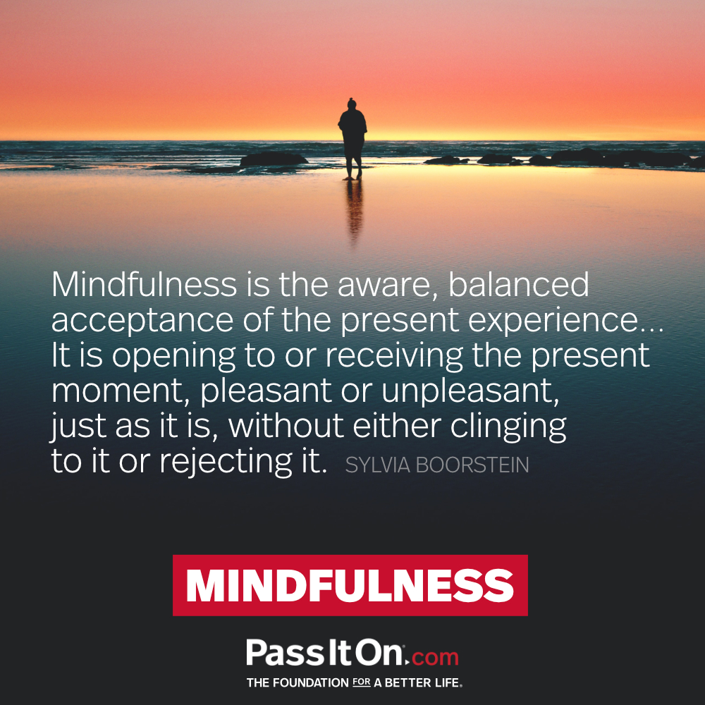 Mindfulness is the aware, balanced acceptance of the present experience... It is opening to or receiving the present moment, pleasant or unpleasant, just as it is, without either clinging to it or rejecting it. —Sylvia Boorstein