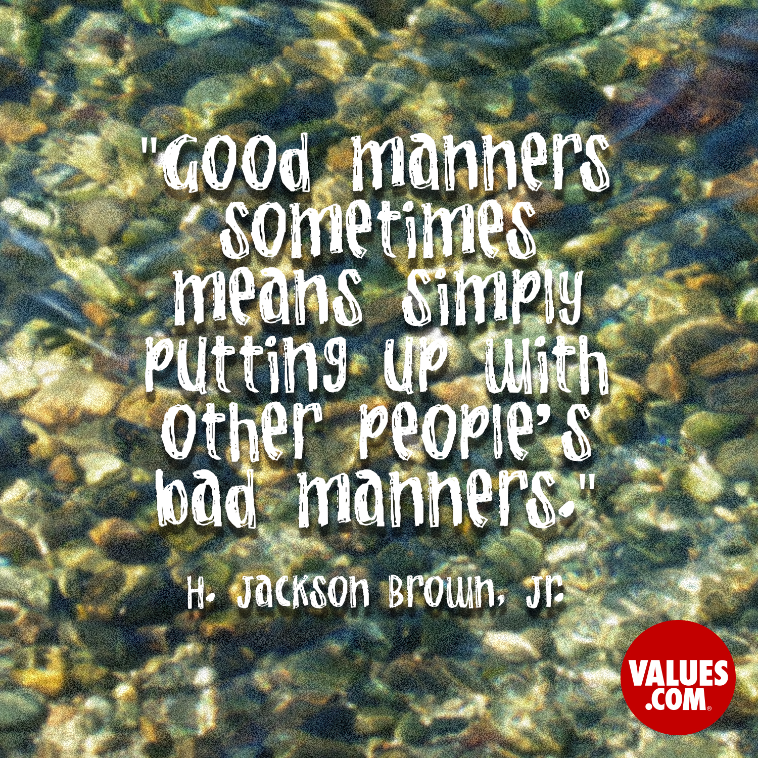 Good manners sometimes means simply putting up with other people's bad manners.  —H. Jackson Brown, Jr.