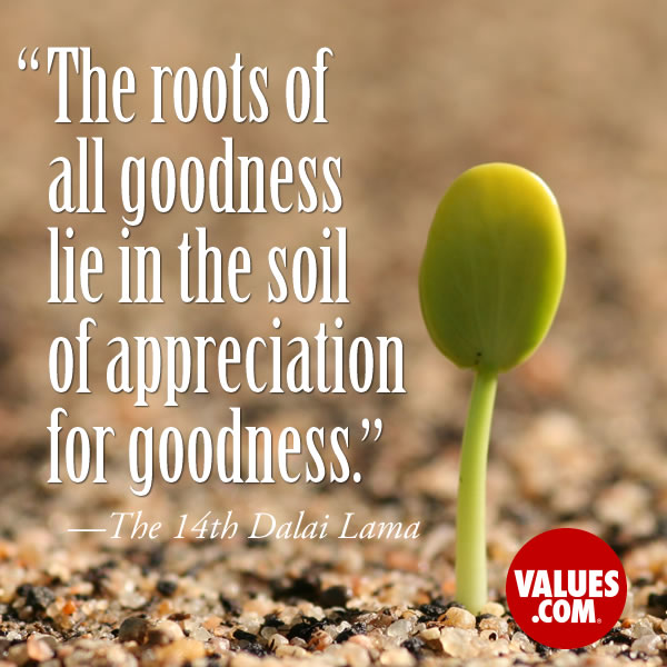 The roots of all goodness lie in the soil of appreciation for goodness. —The 14th Dalai Lama