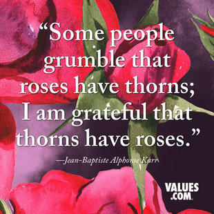 Some people grumble that roses have thorns; I am grateful that thorns have roses. #<Author:0x00007f5800e894f0>