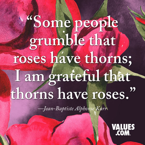 Some people grumble that roses have thorns; I am grateful that thorns have roses. —Jean-Baptiste Alphonse Karr