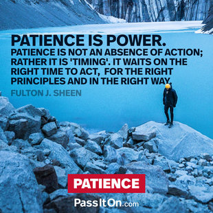 "Patience is power. Patience is not an absence of action; rather it is ""timing"" it waits on the right time to act, for the right principles and in the right way. #<Author:0x00005561ffd8fcf0>"