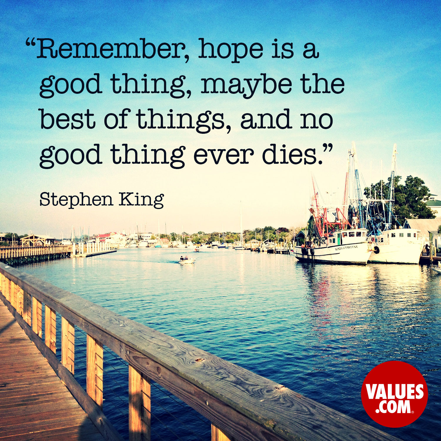 Remember, hope is a good thing, maybe the best of things, and no good thing ever dies. —Stephen King