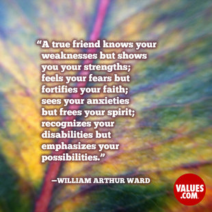 A true friend knows your weaknesses but shows you your strengths; feels your fears but fortifies your faith; sees your anxieties but frees your spirit; recognizes your disabilities but emphasizes your possibilities. #<Author:0x0000564b2b9edd70>