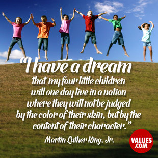 I have a dream that my four little children will one day live in a nation where they will not be judged by the color of their skin, but by the content of their character. #<Author:0x00007f15097ed9f0>