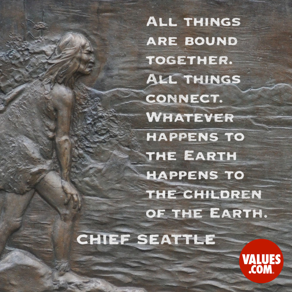 All things are bound together. All things connect. Whatever happens to the Earth happens to the children of the Earth. Man did not weave the web of life, he is merely a strand in it. Whatever he does to the web, he does to himself. —Chief Seattle