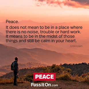 Peace. It does not mean to be in a place where there is no noise, trouble or hard work. It means to be in the midst of those things and still be calm in your heart. #<Author:0x00007f69ad984e78>