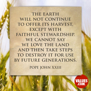 The earth will not continue to offer its harvest, except with faithful stewardship. We cannot say we love the land and then take steps to destroy it for use by future generations. #<Author:0x00007f14ee590308>