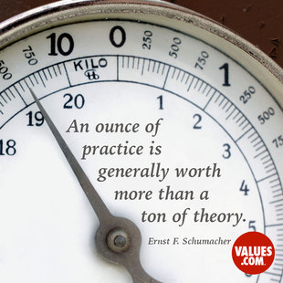 An ounce of practice is generally worth more than a ton of theory. #<Author:0x00007f14ecf8f540>