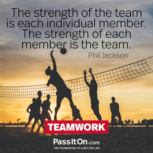 The strength of the team is each individual member. The strength of each member is the team. #<Author:0x00007f09523f60f8>